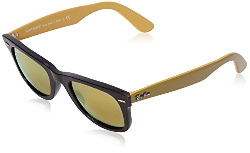 Ray-Ban WAYFARER - BLACK Frame LIGHT BROWN MIRROR GOLD Lenses 50mm - Ray Ban Wayfarer Gold