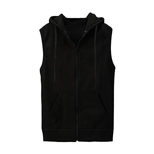WUAI Clearance Men's Hoodie Jackets Sleeveless Slim Fit Waistcoat Solid Color Athletic Sports Tops(Black,US Size L = Tag XL)