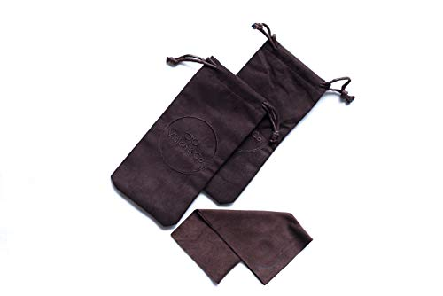 Two-piece Set, Storage Pouches Microfiber (Beige, 7.1 in by 3.6 In) with Microfiber Wipes (PERFECT for Eyewear) by Vision & Co.