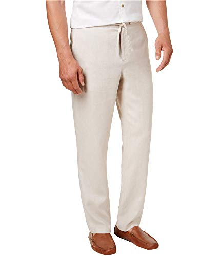 Tasso Elba Mens Flat Front Button-Zip Fly Linen Pants Tan L -