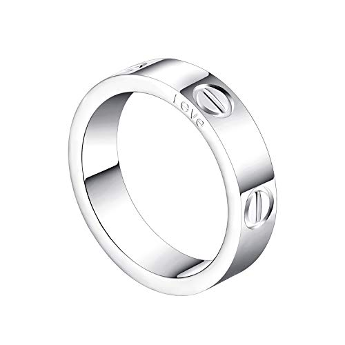 Cartier Love Ring - SHOUTW 6mm Unisex Rings with Screw Design Best Gifts for Love Sliver - 5