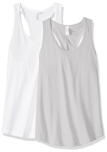 Cotton Petite Tank Top (Clementine Apparel Women's Petite Plus Ideal Racerback Tank Tops (Pack Of 2), White\Silver, M)