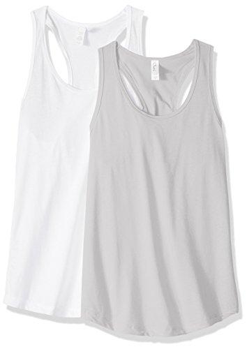 Cotton Petite Tank Top (Clementine Apparel Women's Petite Plus Ideal Racerback Tank Tops (Pack Of 2), White\Silver, M)