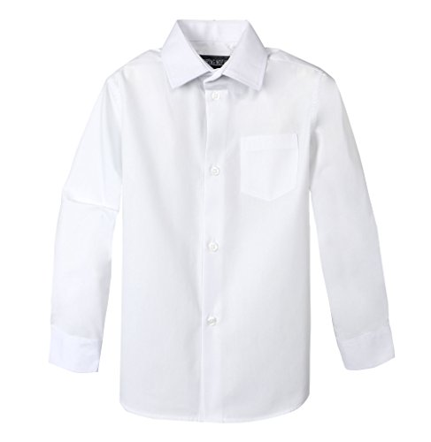 Spring Notion Big Boys' Long Sleeve Dress Shirt 7 White ()