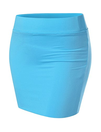 NEARKIN (NKNKW3S Beloved Womens Waistband Double Elastic Layered Mini Skirt Aqua US M(Tag Size ()