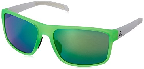 adidas Men's Whipstart A423 6056 Non-Polarized Rectangular Sunglasses, Solar Green/White Matte Translucent, 61 mm (Sunglasses Men Adidas)