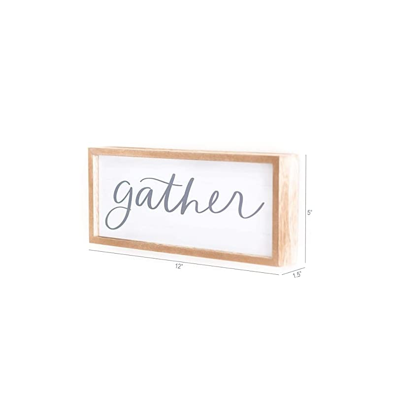 word+joy Gather Sign Small   12x5-Inch Rustic Wooden Sign - Gather Signs for Home Decor - Gather Wall Decor for Kitchen…