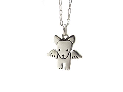 Sterling Silver Angel Dog Necklace on 18