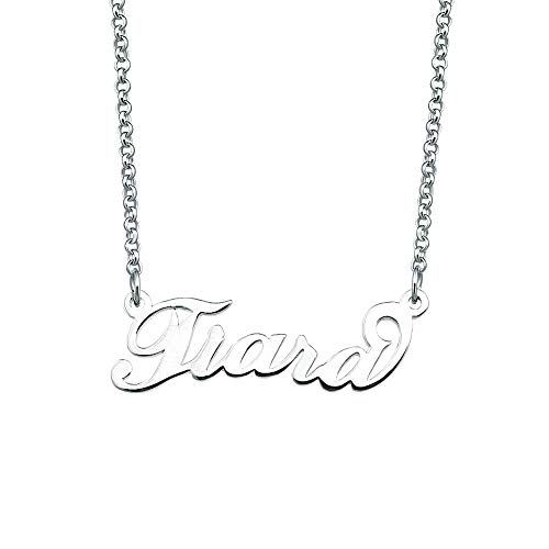(Sug Jasmin 925 Sterling Silver Personalized Jewelry Gift Custom Name Necklace Customized Personal Semi-Custom Made Necklace My Name Necklace Same Day Shipping)