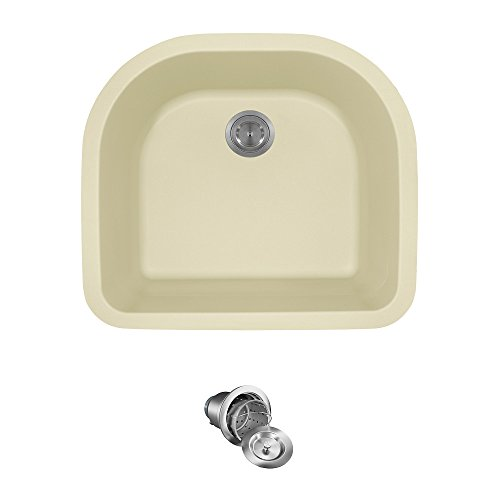 824 D-Shaped Single Bowl Quartz Kitchen Sink, Beige, Basket Strainer