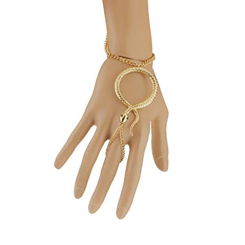 Gold Snake Bracelet Bangle Slave Chain Link Finger Ring Hand Harness Jewelry