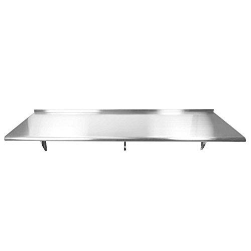 GRIDMANN NSF Stainless Steel Kitchen Wall Mount Shelf Commercial Restaurant Bar w/Backsplash - 72 in. x 18 in.