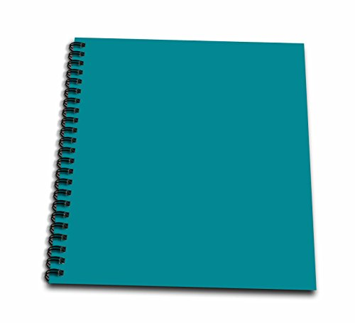 3dRose db_159850_1 Plain Teal Blue-Simple Modern Contemporary Solid One Single Color-Turquoise Blue-Green-Drawing Book, 8 by 8-Inch (Blue Journal Plain)