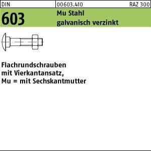 200 Schlo/ßschrauben Mutter DIN 603 verzinkt M5x50