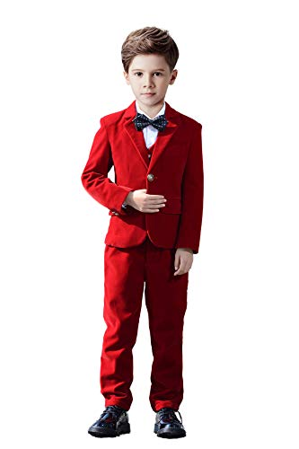 Yanlu 5 Piece Toddler Formal Suit Boys Velvet Suits Set Kids Tuxedo Size 2T Red (Set Piece Five Tuxedo)