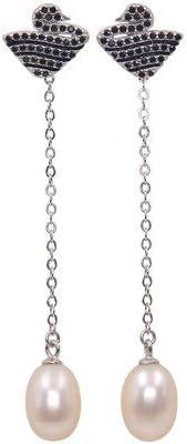 Haespsd Pendientes de Plata de Ley 925 Pendientes de Cisne Negro Pendientes de Perlas Naturales con Flecos Modelos de Doble Uso