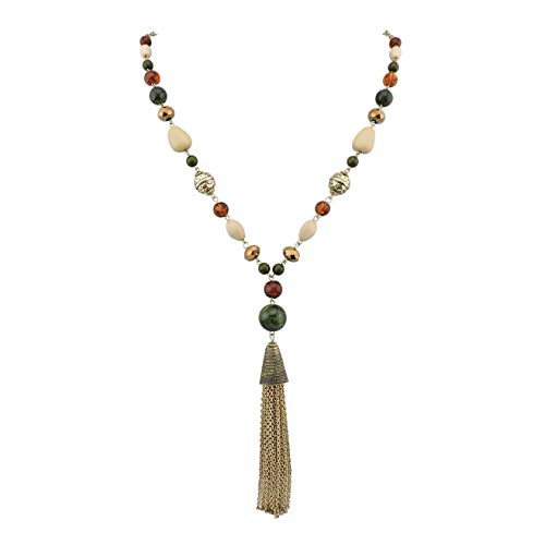 Bocar Newest Long Antique Gold Chain Beads Necklace with Cluster Tassel Pendant (NK-10396)