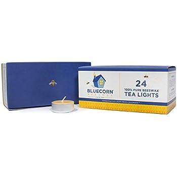 Bluecorn Beeswax 100% Pure Beeswax Tea Lights - Metal Cups (Raw, 24-Pack)