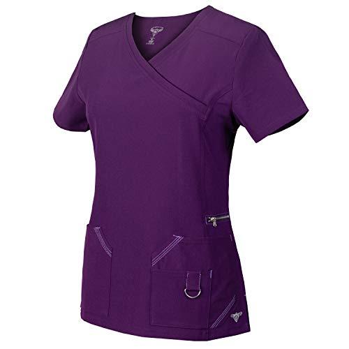 (Medgear Superflex Mock-Wrap Activewear Scrubs Top Dobby 4-Way Stretch (2XL, Eggplant))