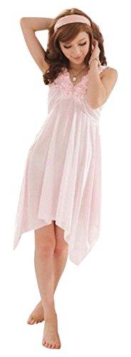 ナイトウェア ピンク ストラップ キャミソール ワンピース シンプル無地 フレア シルク 妖艶な透け透け素材 sexy衣装 パジャマ ルームウェア エロティック ベビードール スリップ babydoll