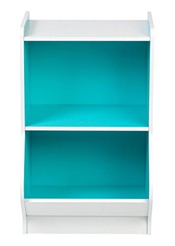 IRIS 2-Tier Storage Organizer Shelf with Footboard, White and Blue