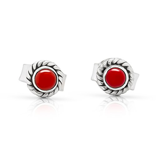 Sterling Silver Synthetic Red Coral Small Stud Earrings