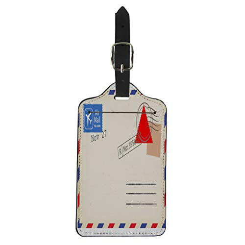 Pinbeam Luggage Tag Old Airmail Back Border Post Send Stamp Suitcase Baggage Label -