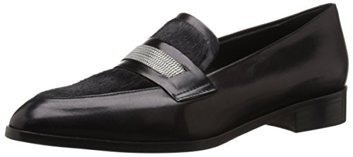Calfskin Belia On Fine D Chain Loafer CH Delman Calf Slip Women's Black Black Hair XA8qw4n
