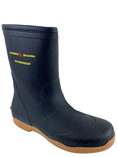 Rugged Shark Men's Great White Fishing Deck Boots, Waterproof, Comfortable No-Slip Sole, Navy Blue, Men's Size 10