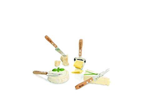 Boska Holland Beech Wood Cheese Knives, 4 Piece Set, Explore (Beechwood Cheese Slicer)
