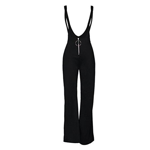 Noir Salopette Pantalons Chengyang Femmes Pantalon Taille Haute Large Casual Longues Évasé Palazzo qpTZqPw