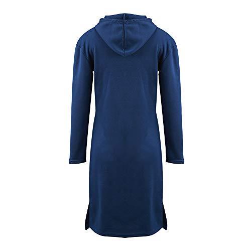 Donne Casual Cappuccio Con Lunghe Abito Abiti Datework Maniche A Pullover Per Blu Le Tasca Felpa Solido WqPq8f4n