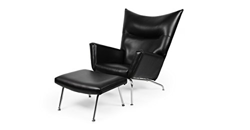 Kardiel Hans J Wegner Style CH445 Wing Chair & Ottoman, Black Aniline Leather (Chair Wing Wegner Style)