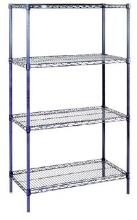 Nexel 4-Shelf Wire Shelving Unit, Chrome Finish, 18