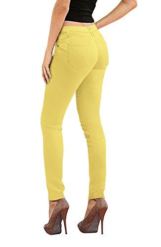 Women's Butt Lift Stretch Denim Jeans-P43304SK-Yellow-1 (Shorts Yellow Stretch)