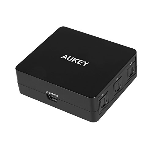 AUKEY Digital Audio Switch 3 x 1 SPDIF Toslink Audio Switch Unterstützt LPCM 2.0 DTS Dolby Digital für Digitale Audiogeräte Apple TV , PS3 PS4 , Xbox Xbox One , Blu-ray Player usw.