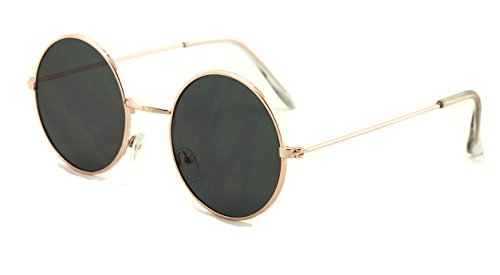 Casual Fashion Medium Round Circle Flat Lens Sunglasses Thin Frame Unisex (Gold, - Sunglasses Circle Black
