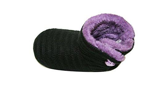 Peuter Babyjongen Meisjes Sherpa Knuffeldier Antislip Indoor Bootie Pantoffels (slt) (slt-6101) -zwart / Paars