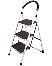 REDCAMP Folding Step Ladder 2/3 Step, Sturdy Heavy Duty Step Ladder with Handrails, White Wide Ladder Step Stool