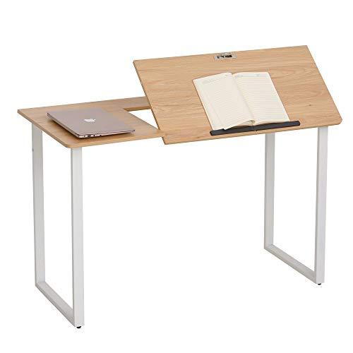 HOMCOM Mesa De Escritorio Mesa Para Computadora Portátil Amplio Espacio Con Tablero Ajustable En Ángulo Barra Adicional…