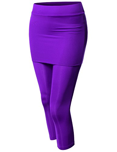 NEARKIN (NKNKWS7L Beloved Womens Downy Skirted Urbane Capri Yoga Leggings Purple US L(Tag Size XL)