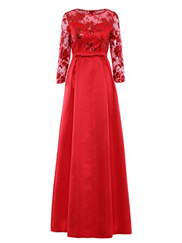 Tanpell Women's A-Line Bowknot Lace Long Evening Formal Dress Red 16 ()