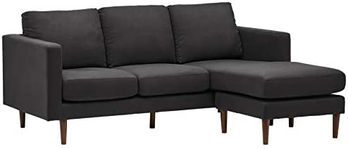 Rivet Revolve Modern Upholstered Sofa with Reversible Sectional Chaise, 80″W, Storm Grey