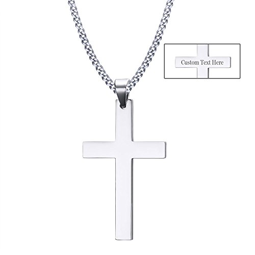 XUANPAI Men's Women's Custom Engraving Stainless Steel Plain Cross Pendant Necklaces,Religions Personalized Gift