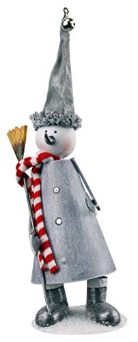 Red Carpet Silver Snowman with Broom Bouncing 4 x 12 Inch Metal Decorative Christmas Figurine