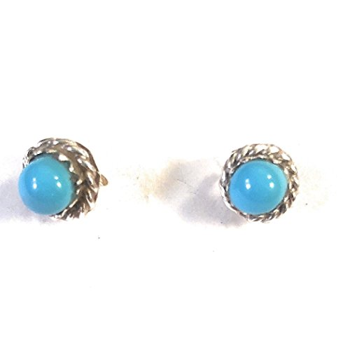 Zuni Turquoise Sterling Silver Handmade Post Earrings Not Signed from Nizhoni Traders LLC