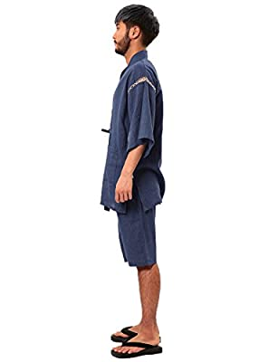 JIGGYS SHOP Men's Japanese Pajamas Jinbei Kimono Nightwear Roomwear 100% Cotton 3piece