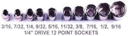 Craftsman 10 Piece 1//4 Inch Drive 12 Point Shallow SAE Sockets