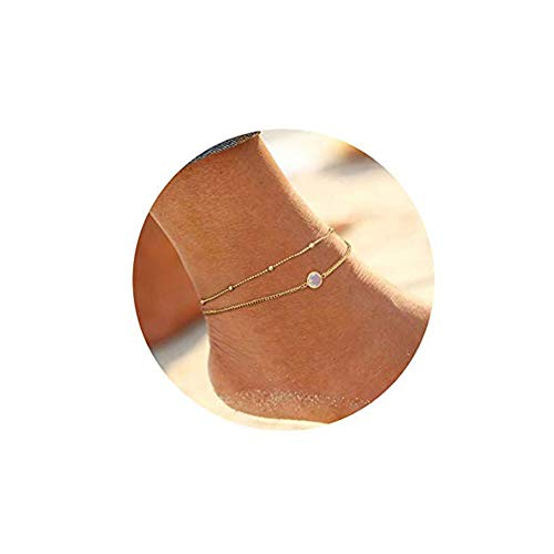 Anklets for Women Gold Plated Foot Jewelry Boho Faux Opal Foot Chain Summer Layer Anklets Bracelet Charm ()