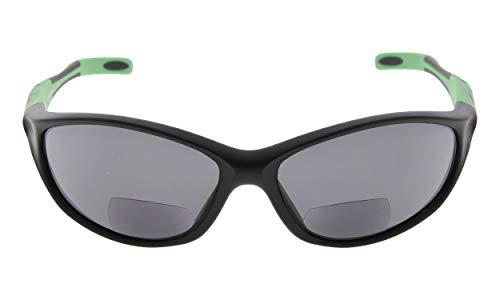 Eyekepper TR90 Frame Bifocal Sports Sunglasses Baseball Running Fishing Driving Golf Softball Hiking Sunshine Readers (Black Frame Green Temple, 1.00)